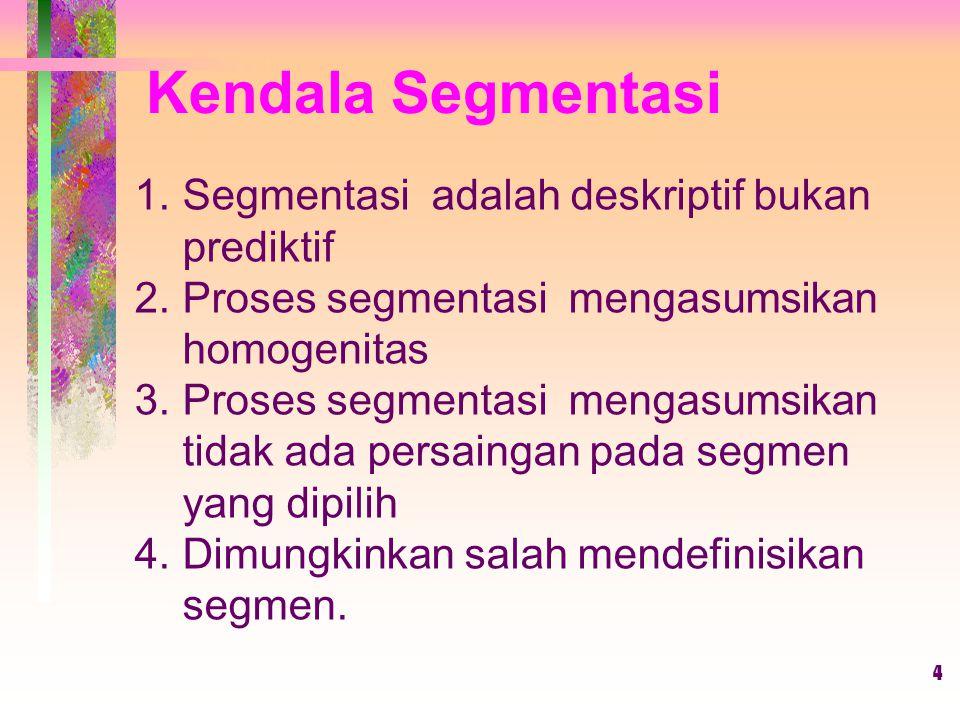Kendala Segmentasi Segmentasi adalah deskriptif bukan prediktif