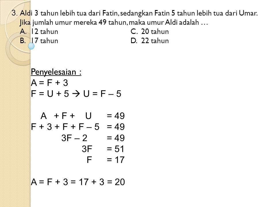 Penyelesaian : A = F + 3 F = U + 5  U = F – 5 A + F + U = 49