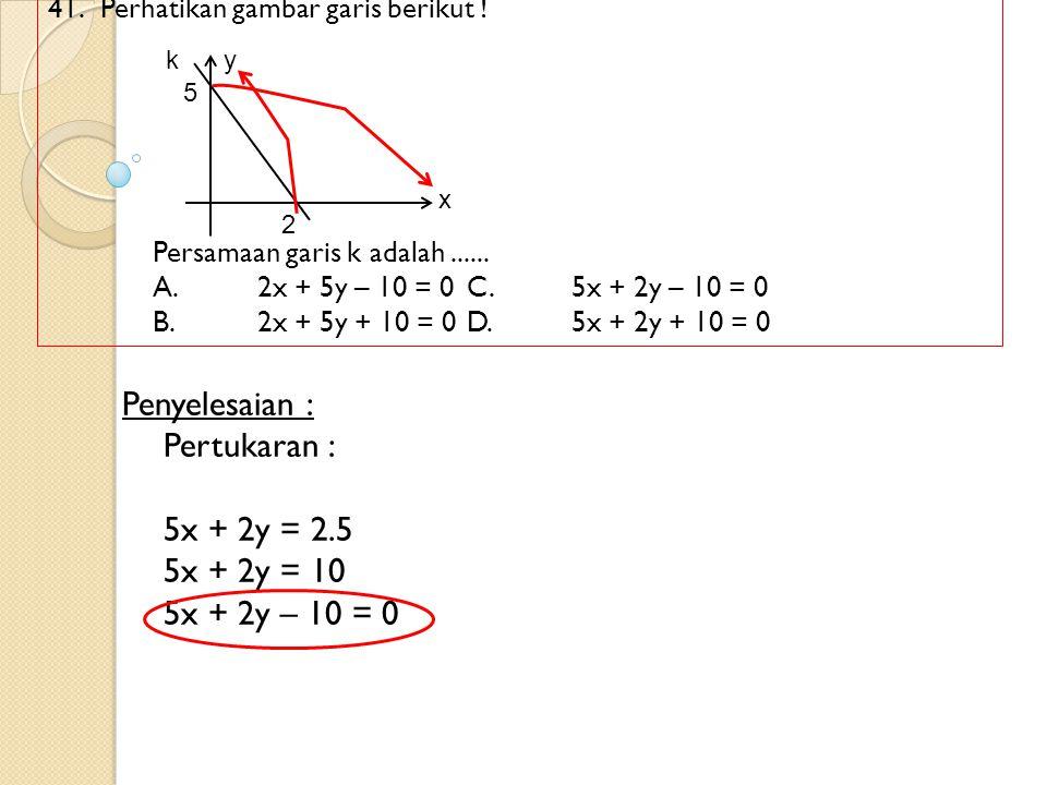 Penyelesaian : Pertukaran : 5x + 2y = 2.5 5x + 2y = 10