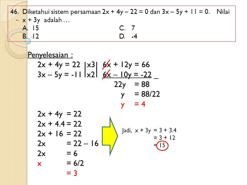 Penyelesaian : 2x + 4y = 22 x3 6x + 12y = 66