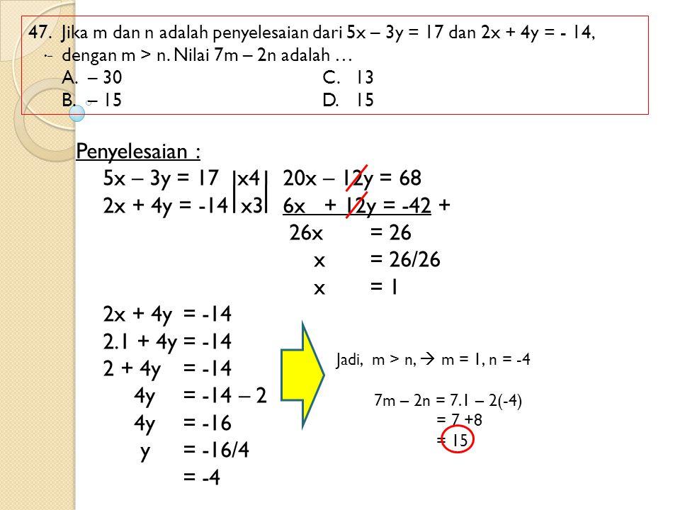 Penyelesaian : 5x – 3y = 17 x4 20x – 12y = 68