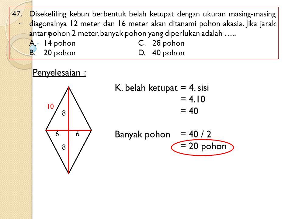 Penyelesaian : K. belah ketupat = 4. sisi = 4.10 = 40