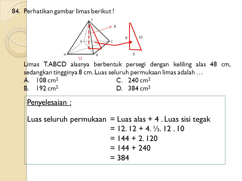 Luas seluruh permukaan = Luas alas + 4 . Luas sisi tegak