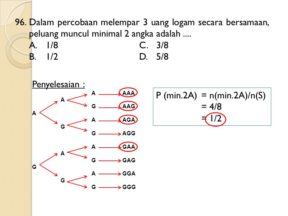 P (min.2A) = n(min.2A)/n(S) = 4/8 = 1/2