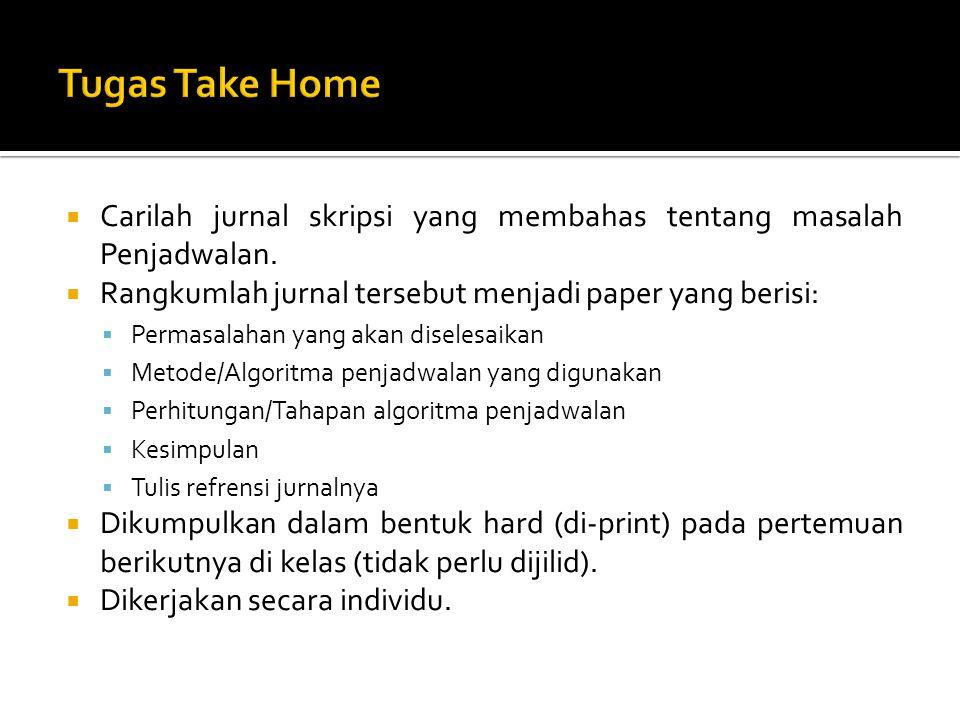 Tugas Take Home Carilah jurnal skripsi yang membahas tentang masalah Penjadwalan. Rangkumlah jurnal tersebut menjadi paper yang berisi: