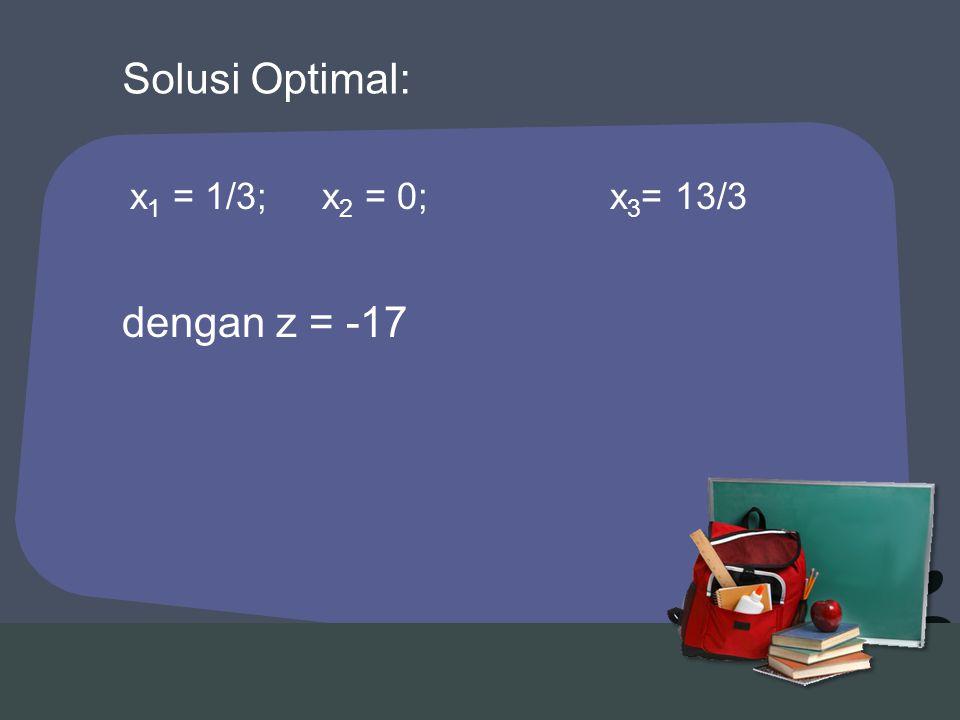 Solusi Optimal: x1 = 1/3; x2 = 0; x3= 13/3 dengan z = -17