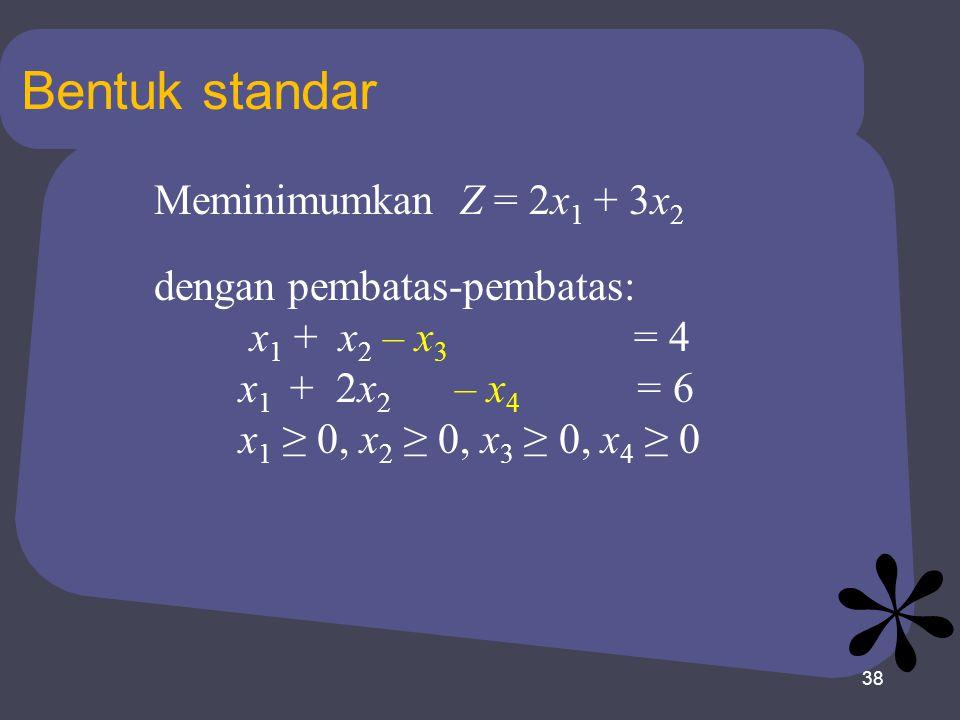 Bentuk standar Meminimumkan Z = 2x1 + 3x2 dengan pembatas-pembatas: