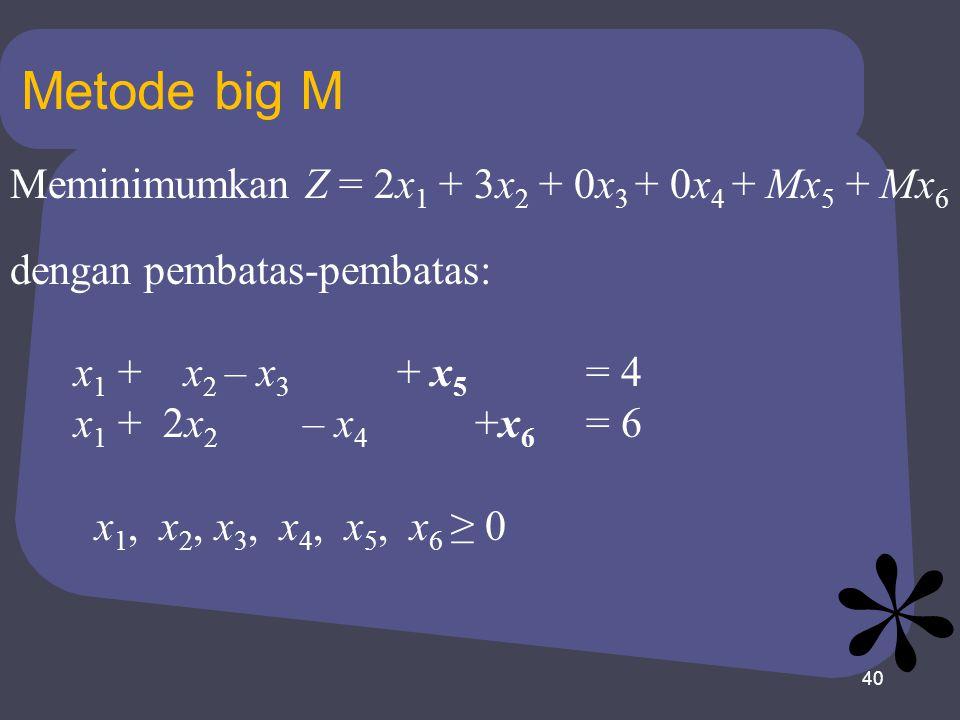 Metode big M Meminimumkan Z = 2x1 + 3x2 + 0x3 + 0x4 + Mx5 + Mx6