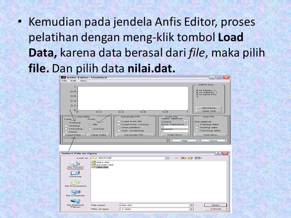 Kemudian pada jendela Anfis Editor, proses pelatihan dengan meng-klik tombol Load Data, karena data berasal dari file, maka pilih file.