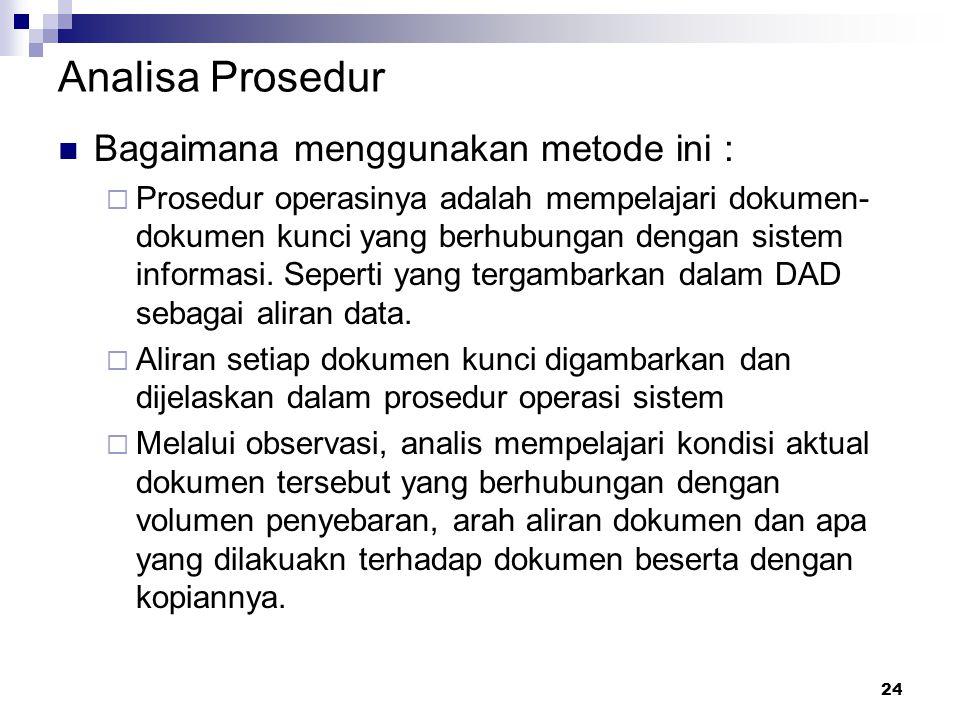 Analisa Prosedur Bagaimana menggunakan metode ini :