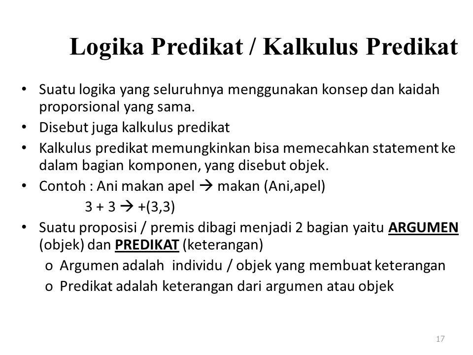 Logika Predikat / Kalkulus Predikat