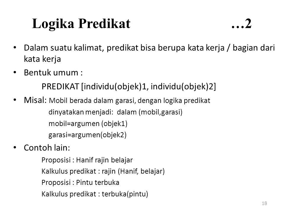 Logika Predikat …2 Dalam suatu kalimat, predikat bisa berupa kata kerja / bagian dari kata kerja.