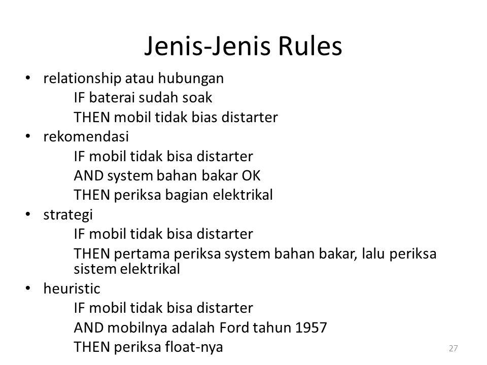 Jenis-Jenis Rules relationship atau hubungan IF baterai sudah soak