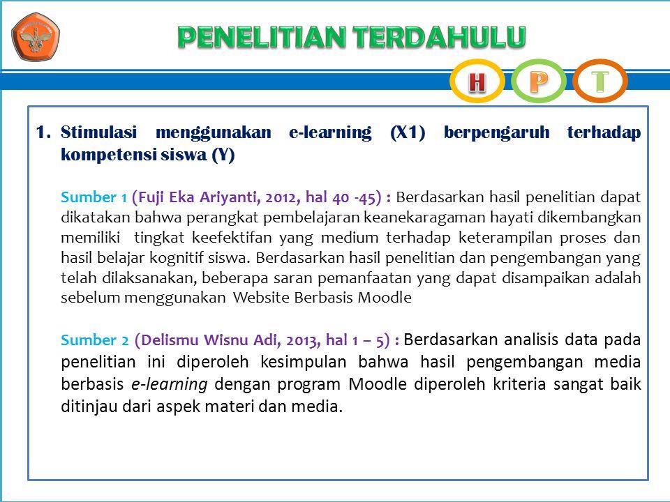 PENELITIAN TERDAHULU Stimulasi menggunakan e-learning (X1) berpengaruh terhadap kompetensi siswa (Y)