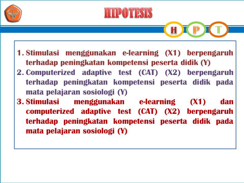 HIPOTESIS Stimulasi menggunakan e-learning (X1) berpengaruh terhadap peningkatan kompetensi peserta didik (Y)