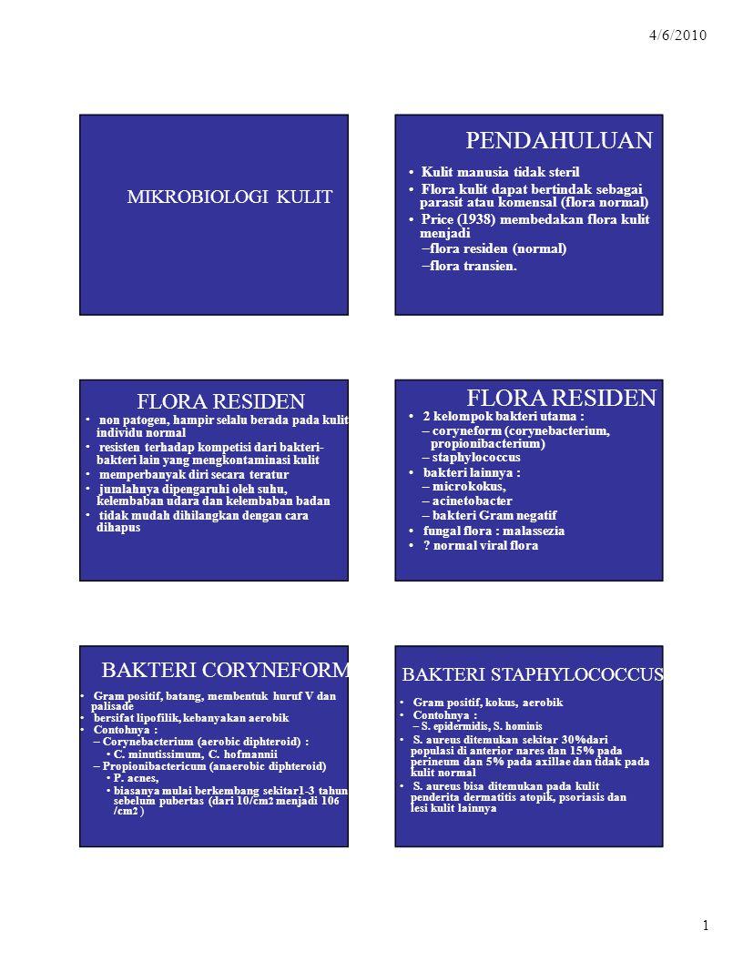 parasit atau komensal (flora normal) menjadi –flora residen (normal)