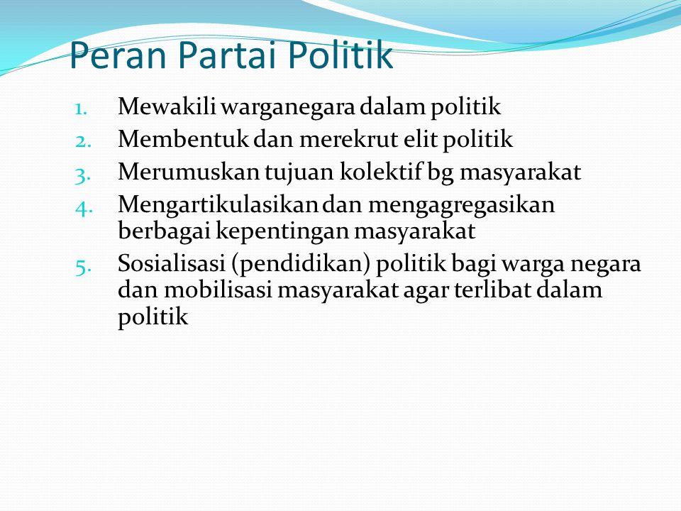 Peran Partai Politik Mewakili warganegara dalam politik