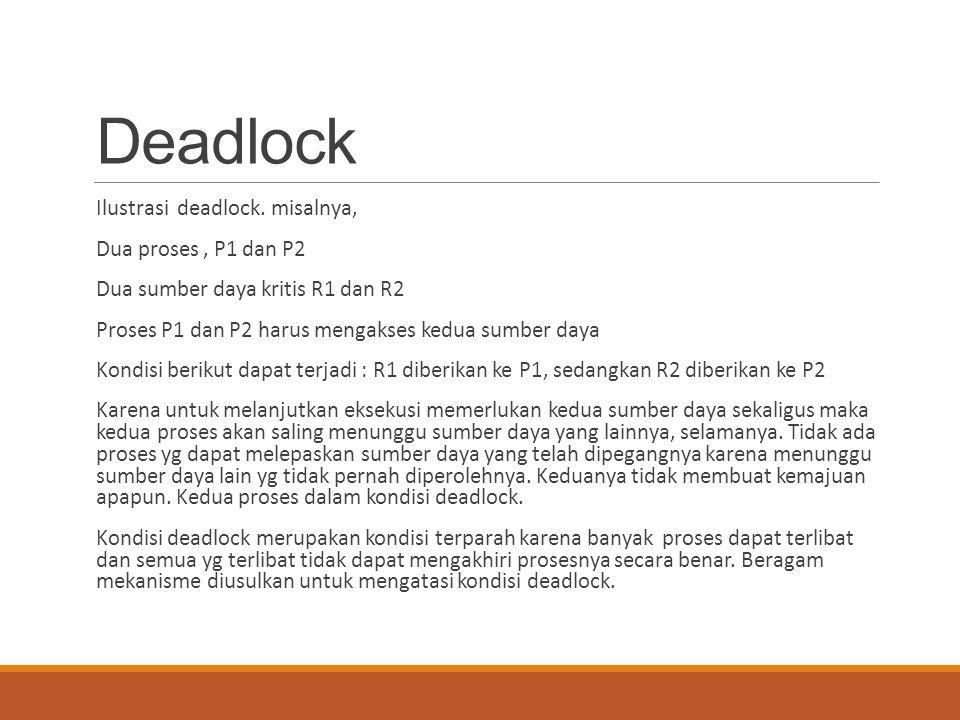 Deadlock Ilustrasi deadlock. misalnya, Dua proses , P1 dan P2