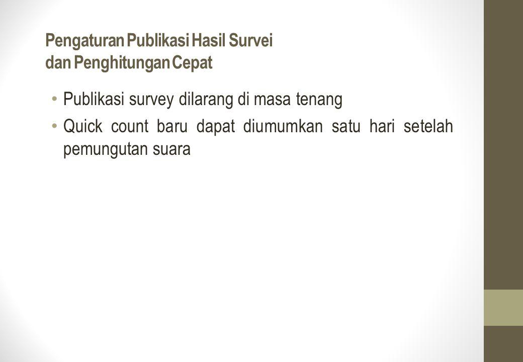 Pengaturan Publikasi Hasil Survei dan Penghitungan Cepat