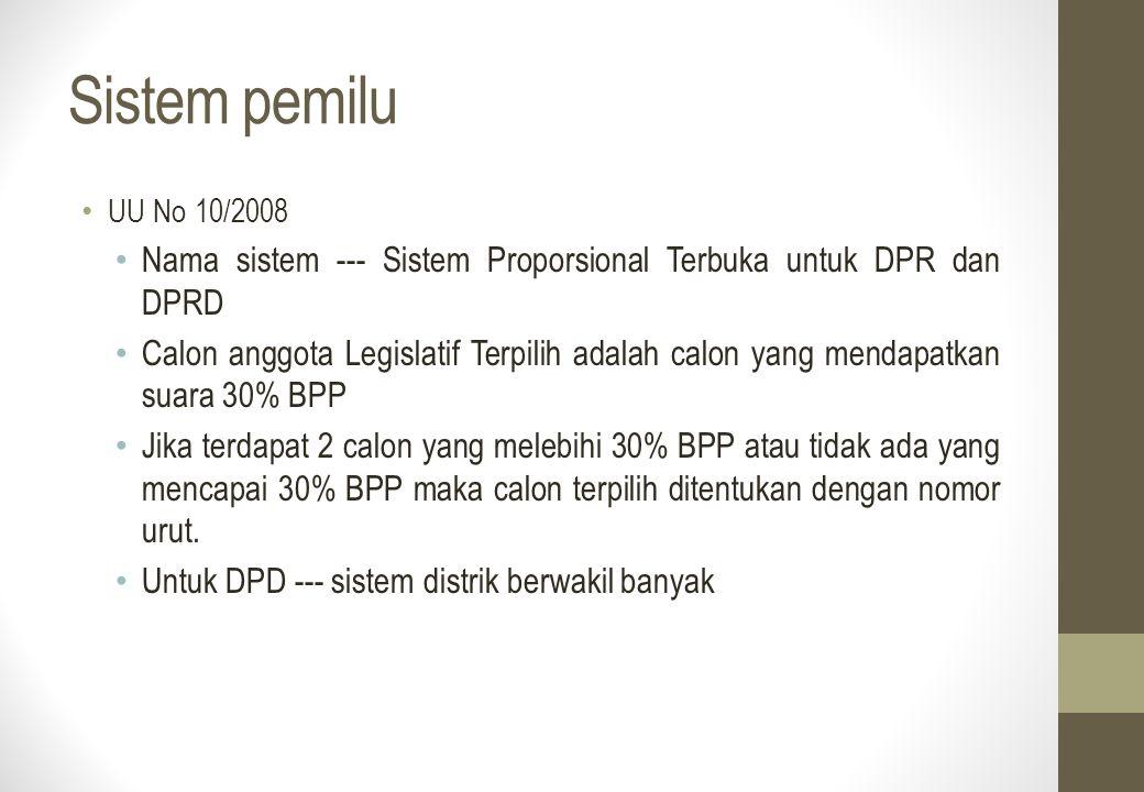 Sistem pemilu UU No 10/2008. Nama sistem --- Sistem Proporsional Terbuka untuk DPR dan DPRD.