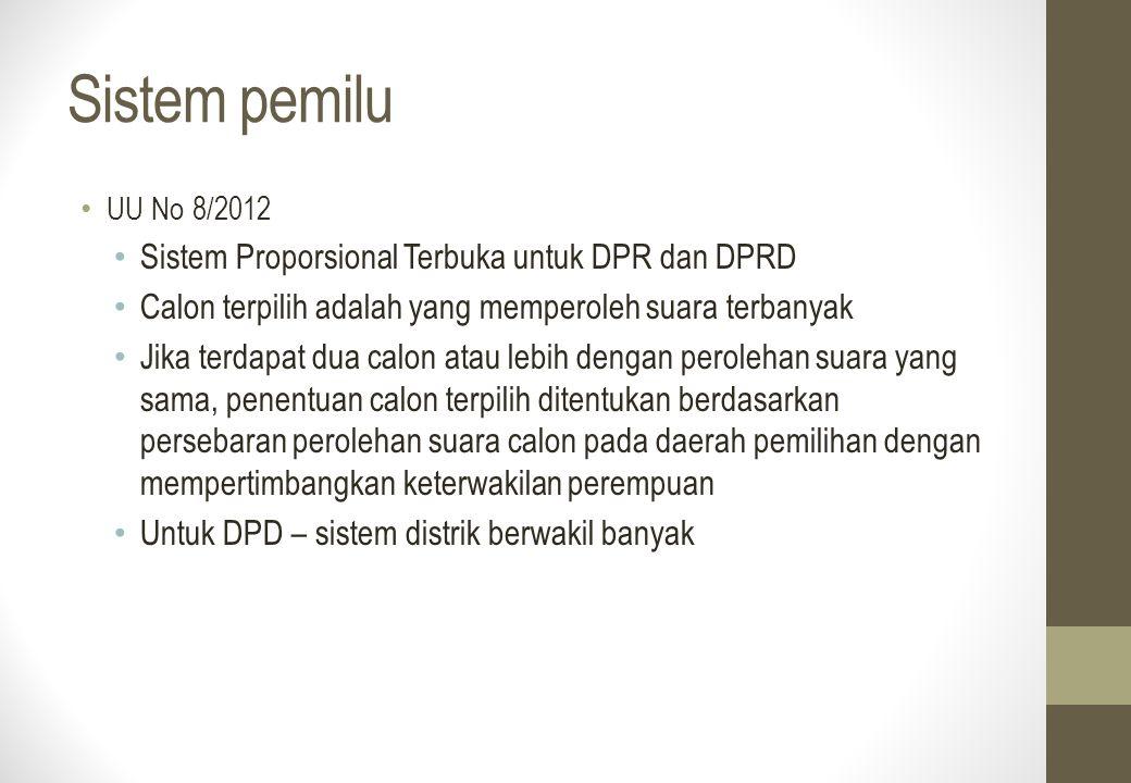 Sistem pemilu Sistem Proporsional Terbuka untuk DPR dan DPRD