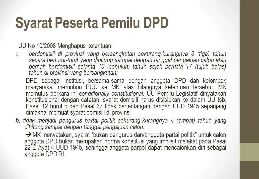 Syarat Peserta Pemilu DPD