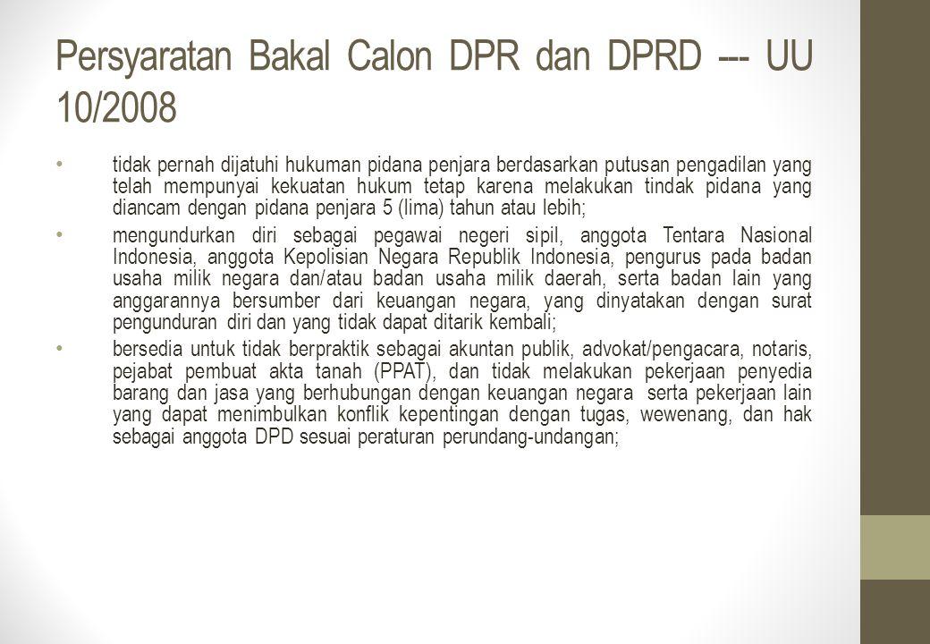 Persyaratan Bakal Calon DPR dan DPRD --- UU 10/2008