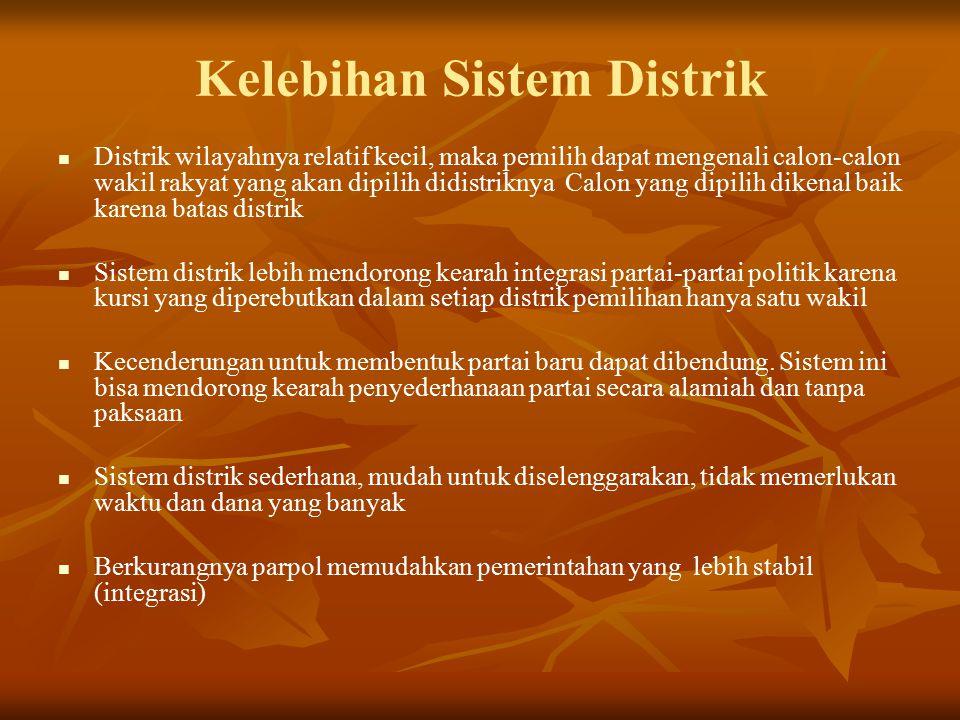 Kelebihan Sistem Distrik