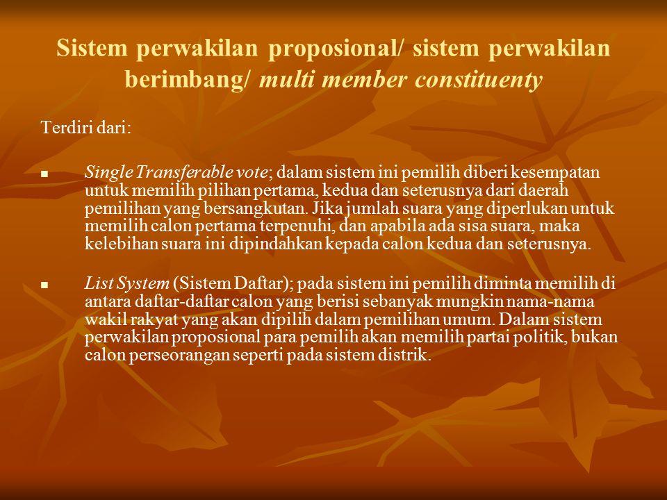 Sistem perwakilan proposional/ sistem perwakilan berimbang/ multi member constituenty