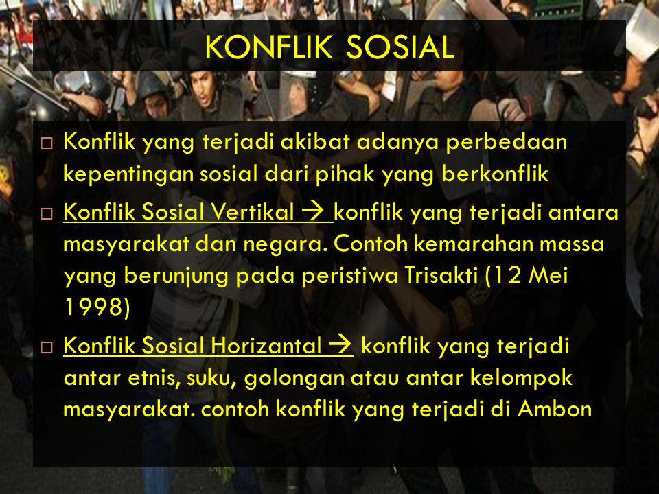 KONFLIK SOSIAL Konflik yang terjadi akibat adanya perbedaan kepentingan sosial dari pihak yang berkonflik.