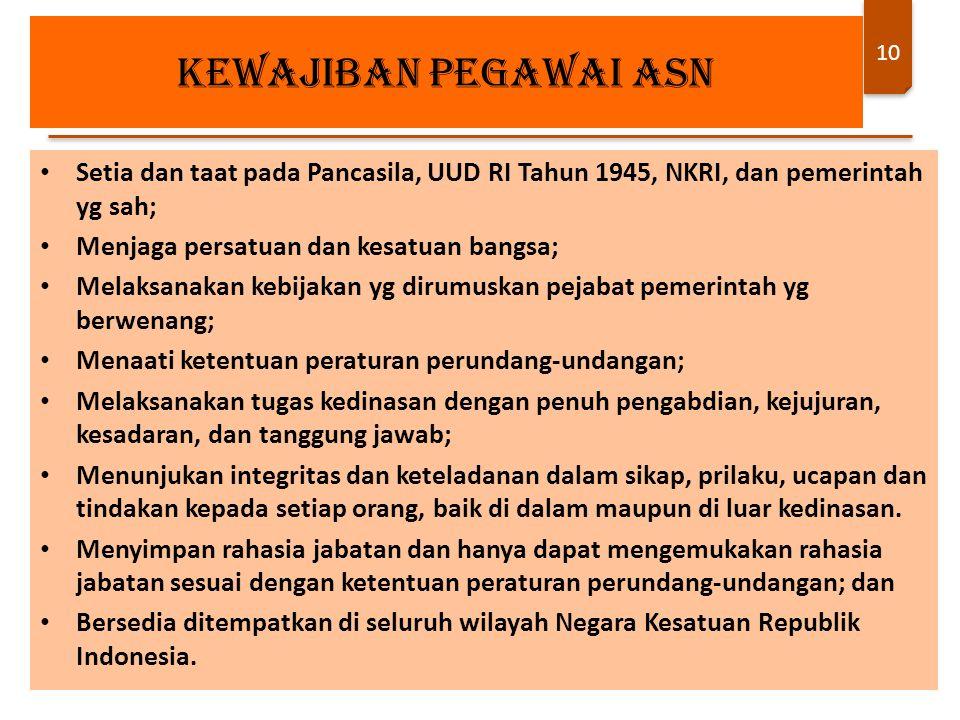 kewajiban PEGAWAI ASN Setia dan taat pada Pancasila, UUD RI Tahun 1945, NKRI, dan pemerintah yg sah;