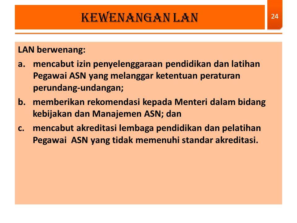 Kewenangan LAN LAN berwenang: