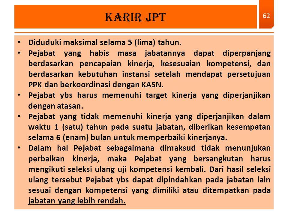 KARIR JPT Diduduki maksimal selama 5 (lima) tahun.