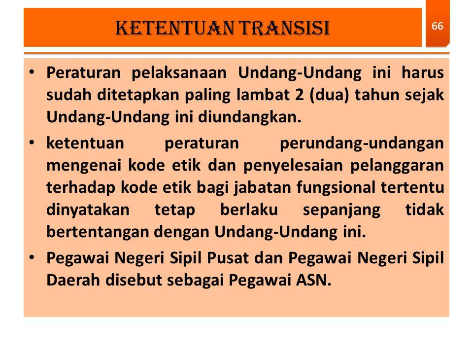 KETENTUAN TRANSISI Peraturan pelaksanaan Undang-Undang ini harus sudah ditetapkan paling lambat 2 (dua) tahun sejak Undang-Undang ini diundangkan.