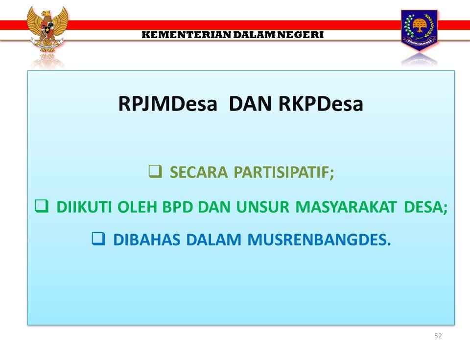 RPJMDesa DAN RKPDesa SECARA PARTISIPATIF;