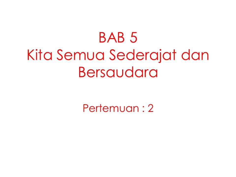 BAB 5 Kita Semua Sederajat dan Bersaudara