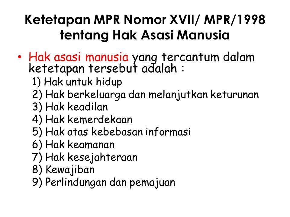 Ketetapan MPR Nomor XVII/ MPR/1998 tentang Hak Asasi Manusia