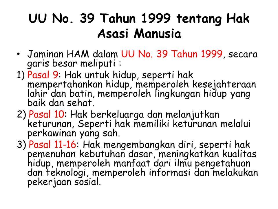 UU No. 39 Tahun 1999 tentang Hak Asasi Manusia