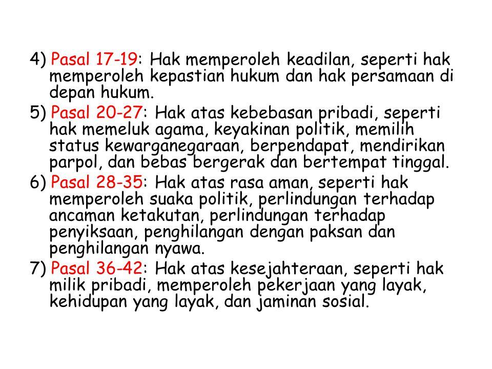 4) Pasal 17-19: Hak memperoleh keadilan, seperti hak memperoleh kepastian hukum dan hak persamaan di depan hukum.