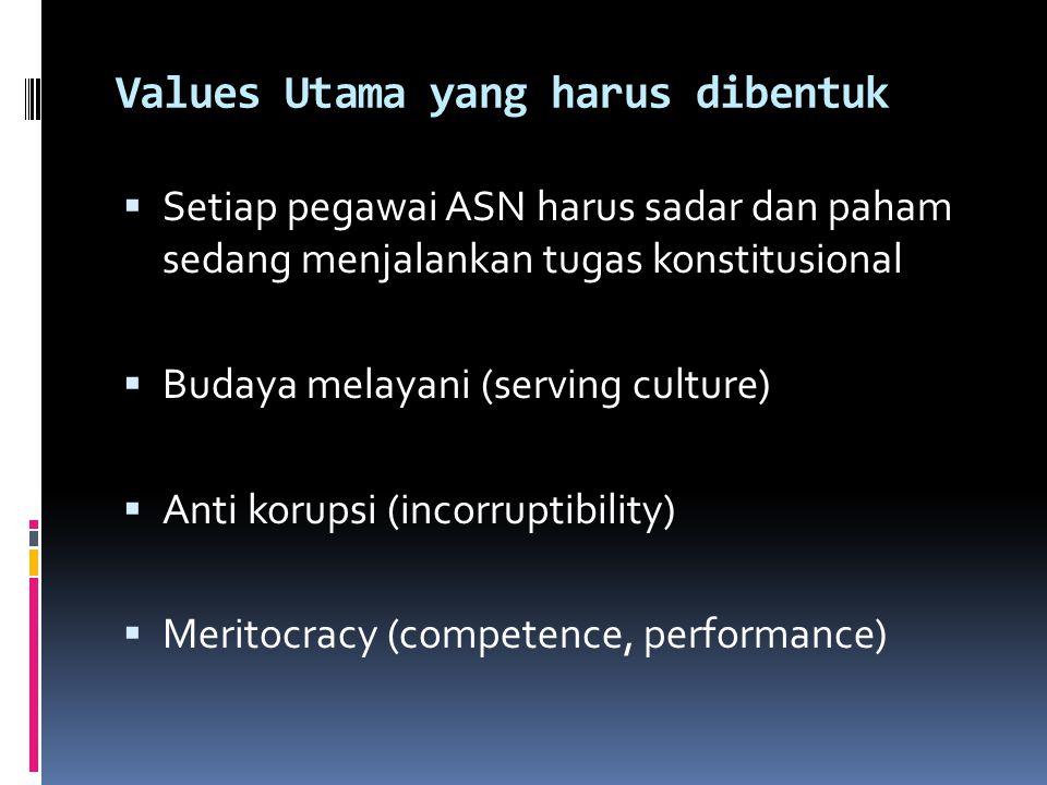 Values Utama yang harus dibentuk