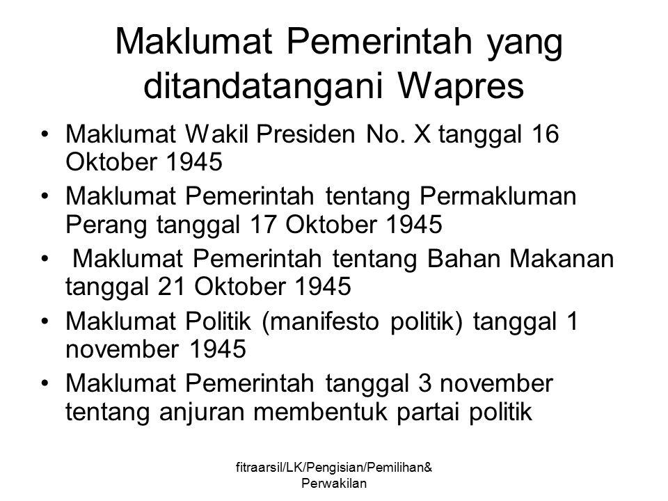 Maklumat Pemerintah yang ditandatangani Wapres
