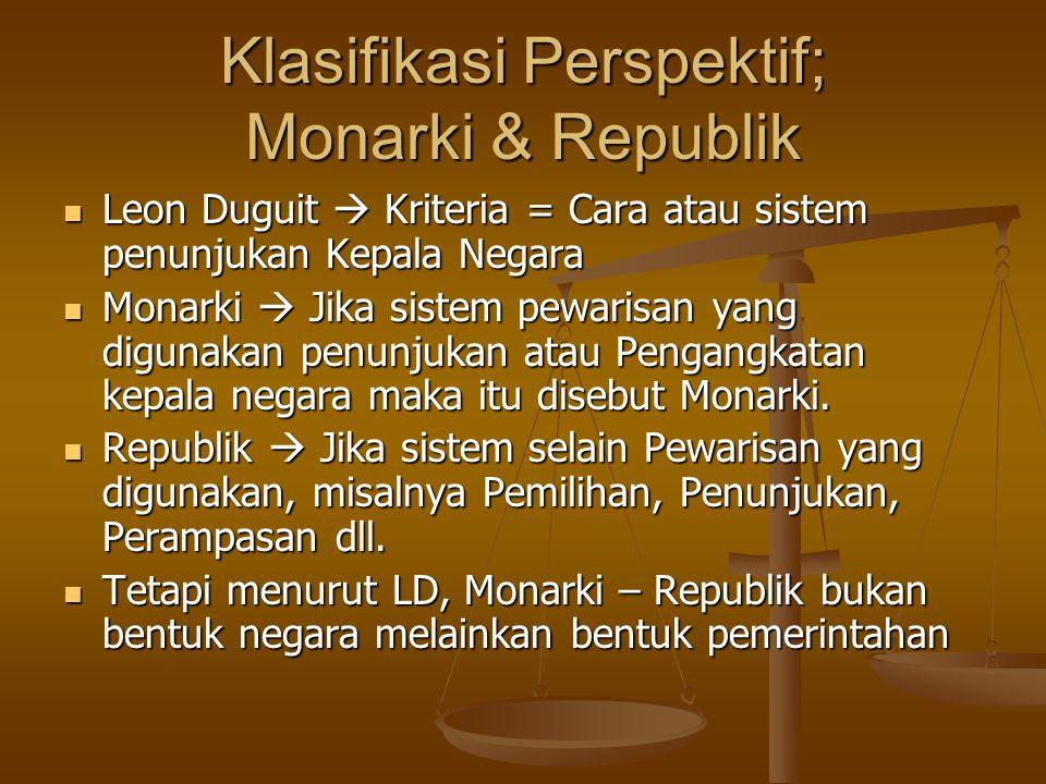 Klasifikasi Perspektif; Monarki & Republik