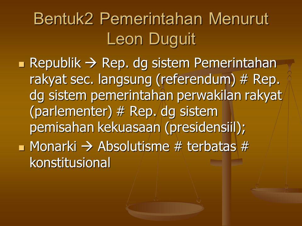 Bentuk2 Pemerintahan Menurut Leon Duguit