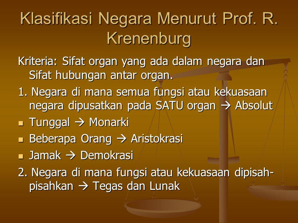 Klasifikasi Negara Menurut Prof. R. Krenenburg
