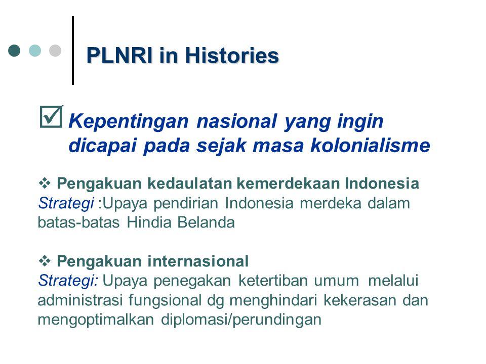 PLNRI in Histories Kepentingan nasional yang ingin dicapai pada sejak masa kolonialisme. Pengakuan kedaulatan kemerdekaan Indonesia.