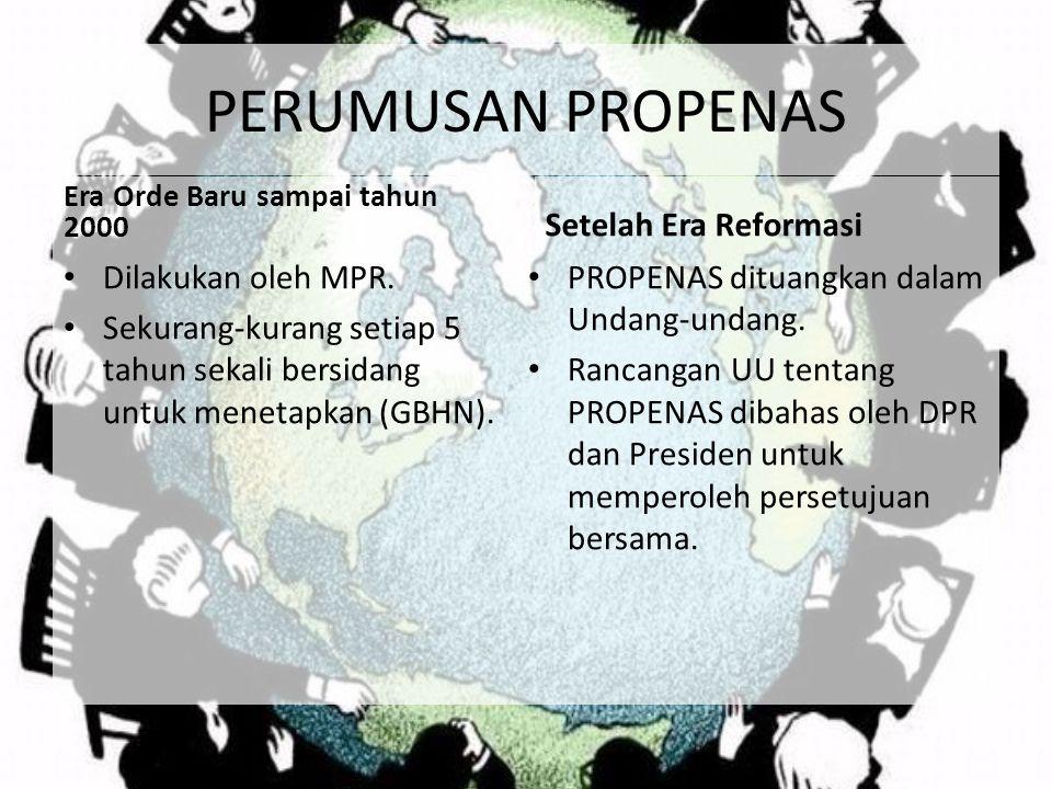PERUMUSAN PROPENAS Setelah Era Reformasi Dilakukan oleh MPR.