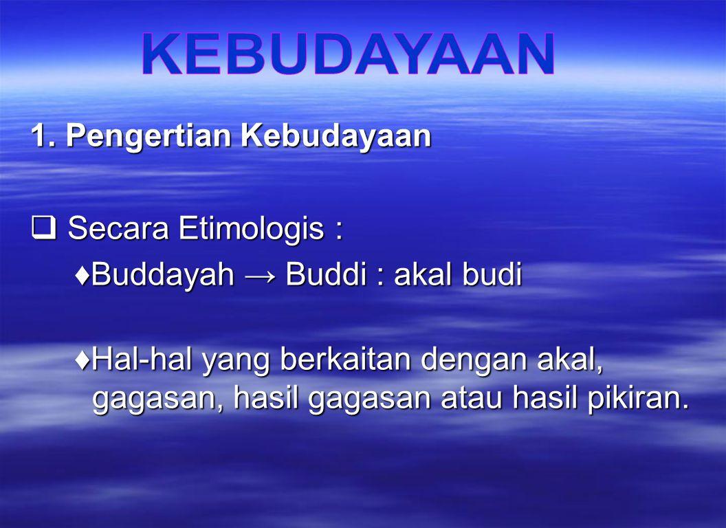 1. Pengertian Kebudayaan Secara Etimologis :