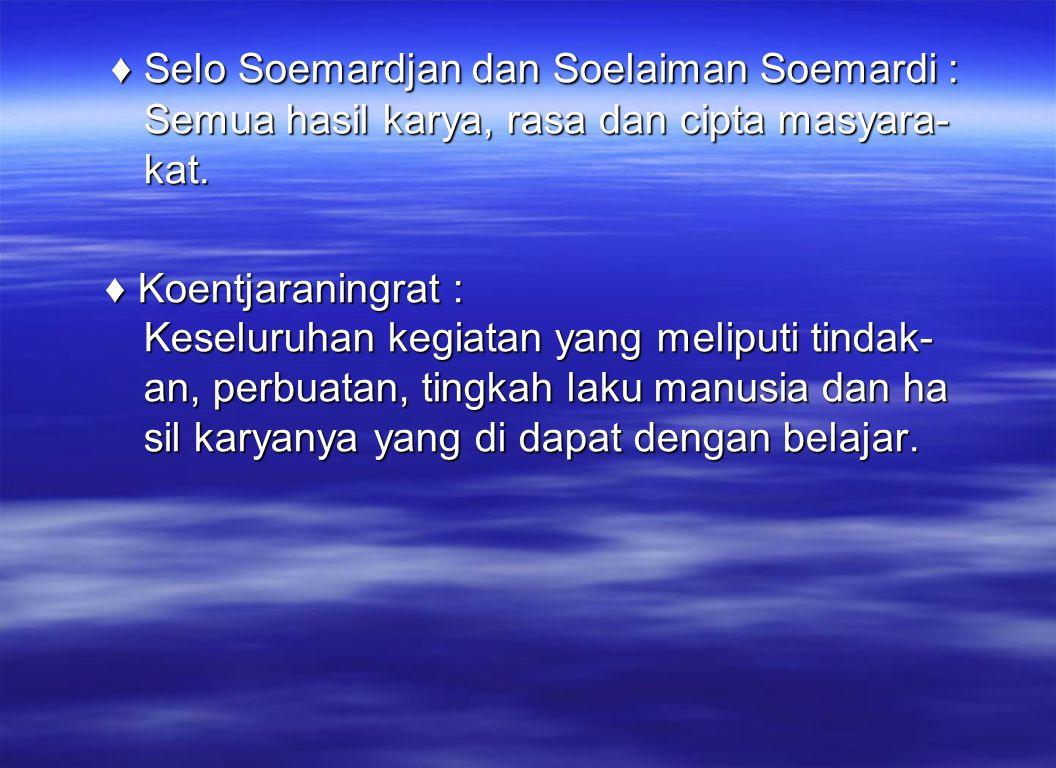 ♦ Selo Soemardjan dan Soelaiman Soemardi : Semua hasil karya, rasa dan cipta masyara- kat.