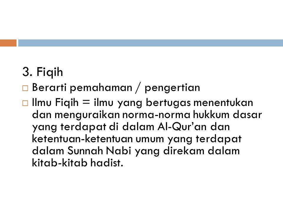 3. Fiqih Berarti pemahaman / pengertian
