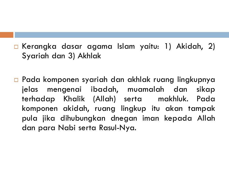 Kerangka dasar agama Islam yaitu: 1) Akidah, 2) Syariah dan 3) Akhlak